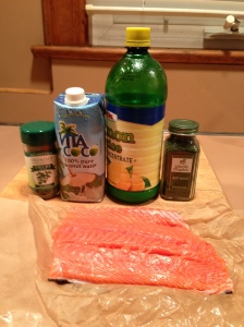 salmon ingredients: coconut water lemon juice dill thyme