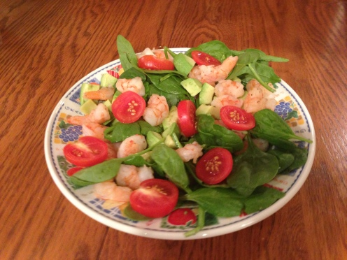 Ginger shrimp avocado salad spinach tomatoes