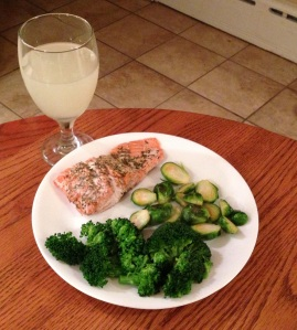 paleo salmon dinner with broccoli and brussels sprouts