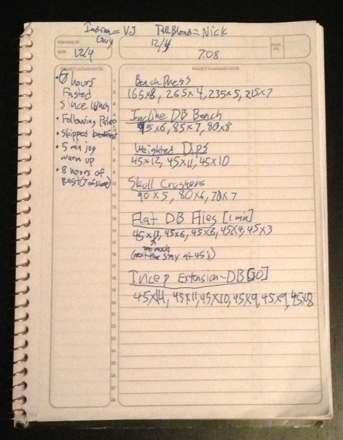 gym note book