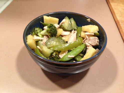 ginger coconut chicken stir-fry in a bowl