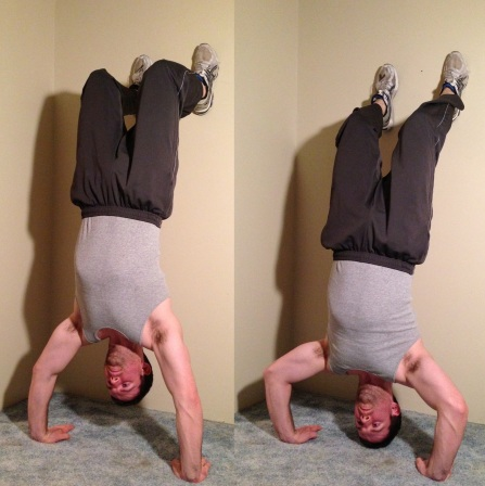 Wall Supported Handstand Push Up Bodyweight Exercise