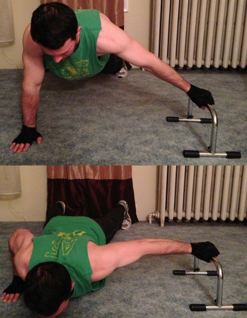 One Hand Assisted Push Up Body Weight Exercise