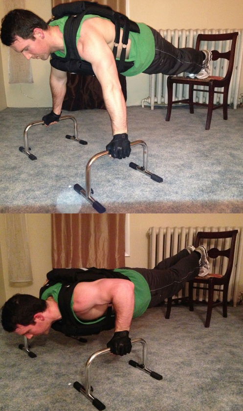 Weight Vest Push Up on Handles Exercise